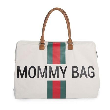 Childhome Torba podróżna Mommy Bag kremowa paski zielono-czerwone