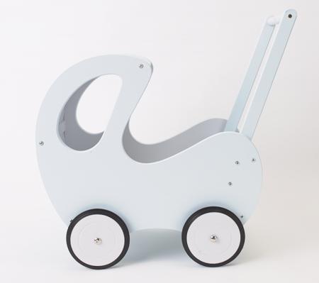 DREWNIANY wózeczek dla lalek, pchacz błękitny, POLSKI HANDMADE