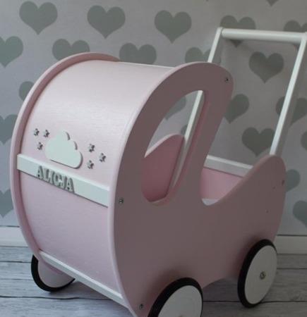 DREWNIANY wózeczek dla lalek, pchacz różowy, POLSKI HANDMADE