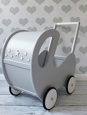 DREWNIANY wózeczek dla lalek, pchacz szary POLSKI HANDMADE