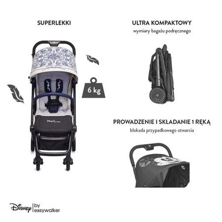 Disney by Easywalker Buggy XS Wózek spacerowy z folią przeciwdeszczową i pałąkiem Mickey Ornament