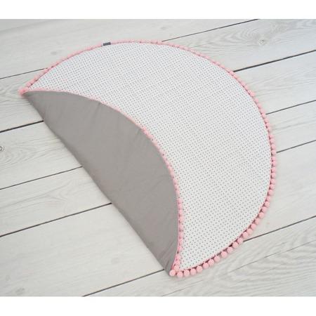 Dolly Mata biała w szare kropki z różowymi pomponami 100 cm