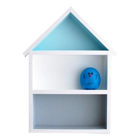 Dziecięca półeczka duży domek, Szaro - Niebieski