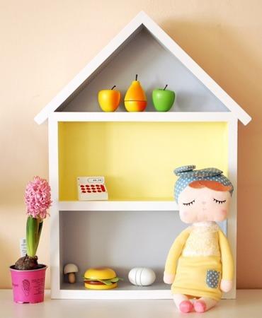 Dziecięca półeczka duży domek, Szaro - Żółty