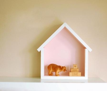 Dziecięca półeczka mały domek, Brudny Róż