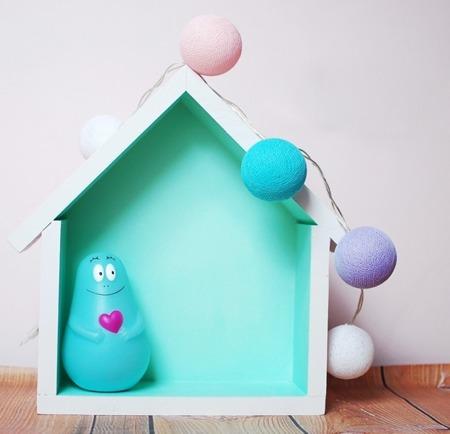 Dziecięca półeczka mały domek, Miętowy