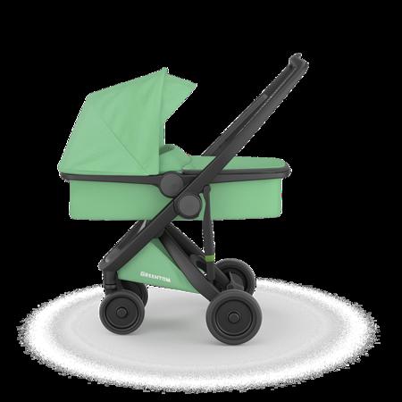 Greentom 2w1 CARRYCOT + REVERSIBLE Wózek eko czarno-miętowy