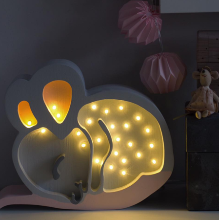 Lampka drewniana z funkcją ściemniania Little Lights Myszka Polski HandMade