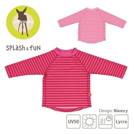 Lassig Koszulka do pływania z długim rękawem Pink stripes UV 50+, 12-18 m-cy