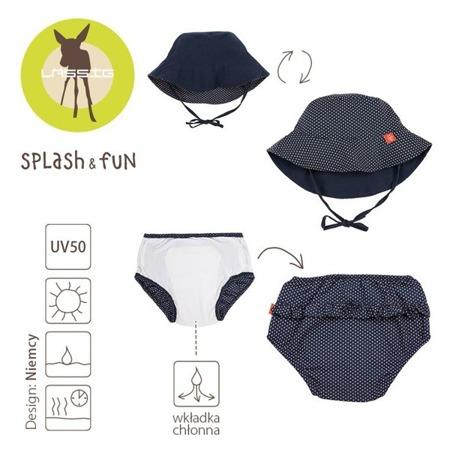Lassig Zestaw kapelusz i majteczki do pływania z wkładką chłonną Polka Dots navy UV 50+ 18 m-cy
