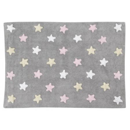 Lorena Canals Tricolor Star Gris/Rosa 120x160cm