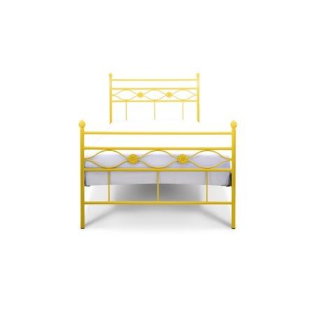 Łóżko metalowe dziecięce Floris 90/200 żółte