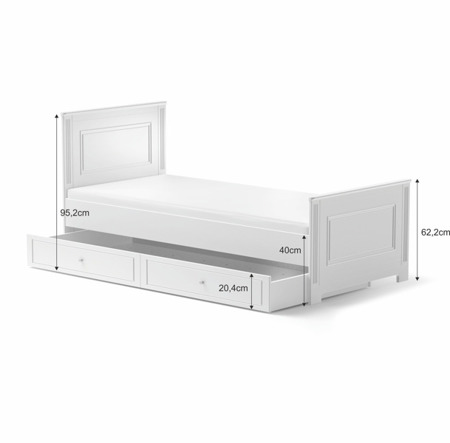 Łóżko młodzieżowe 90x200 z szufladą Bellamy Ines White