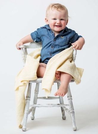 Lulujo, kocyk bawełniany tkany żółty