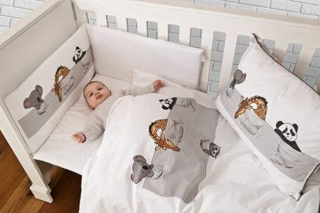 Ochraniacz na całe łóżeczko, śpiące zwierzątka 30x360cm