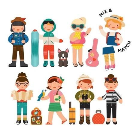 Petit Collage Magnetyczne postacie Little Travelers