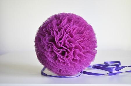 Pompon tiulowy Fioletowy 10 cm, handmade