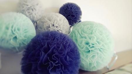 Pompon tiulowy Granatowy 10 cm, handmade