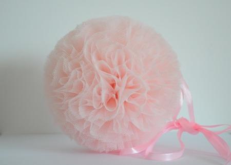 Pompon tiulowy Jasnoróżowy 20 cm, handmade