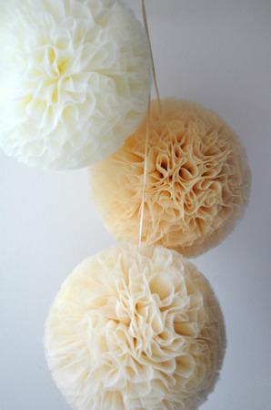 Pompon tiulowy Złoty 15 cm, handmade