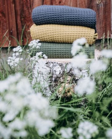 Poofi Kocyk tkany Organic&Color granatowy