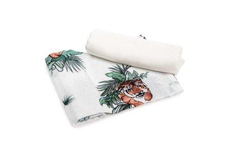 Poofi Pieluszka bambusowa Tropical tygrysy i gładki 2 szt