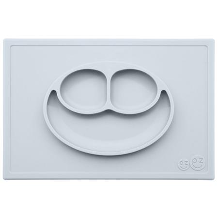 Silikonowy talerzyk z podkładką EZPZ 2 w 1 Happy Mat, Pastelowa szarość