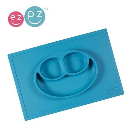 Silikonowy talerzyk z podkładką EZPZ 2 w 1 Happy Mat, niebieski mat