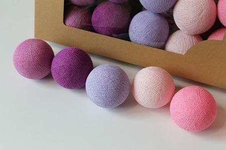 Świecące kule COTTON BALL zestaw Light Berry 20 sztuk
