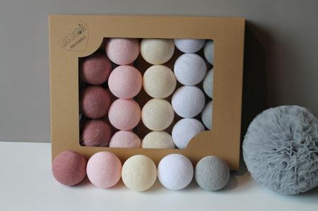 Świecące kule COTTON BALL zestaw Pink Dream 35 sztuk