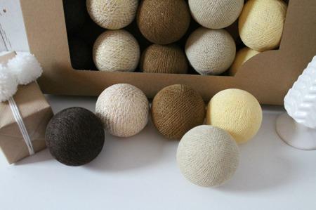 Świecące kule COTTON BALLS  XMAS BROWN, 35 sztuk
