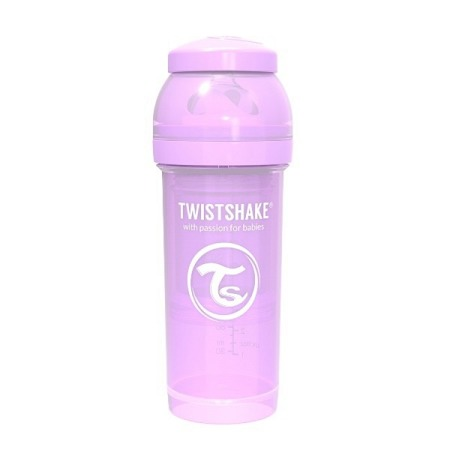 Twistshake Antykolkowa butelka do karmienia 260ml pastelowy fiolet