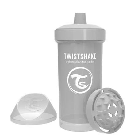 Twistshake Kubek niekapek z mikserem do owoców 360ml pastelowy szary